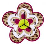 Trend Lab Berry Leopard Wall Clock- Flower Shaped Clock Features