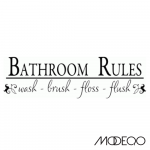 Bathroom Rules Vinyl Wall Decal Quote