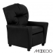 Black Leather Kids Recliner with Cup Holder