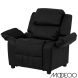 Deluxe Heavily Padded Black Leather Kids Recliner With Storage Arms