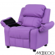 Deluxe Heavily Padded Lavender Vinyl Kids Recliner With Storage Arms