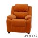 Deluxe Heavily Padded Orange Microfiber Kids Recliner with Storage Arms