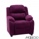 Deluxe Heavily Padded Purple Microfiber Kids Recliner with Storage Arms