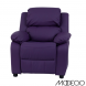 Deluxe Heavily Padded Purple Vinyl Kids Recliner With Storage Arms