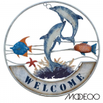 Dolphin Welcome Metal Sign