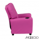 Hot Pink Vinyl Kids Recliner With Cup Holder