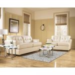 Ivory Leather Sofa and Loveseat Living Room Set