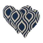Dark Blue Heart Shaped Throw Pillows