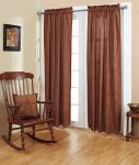 Ninepatch Star Panel Burgundy Check Lined Curtains Set of 2- 40x84""