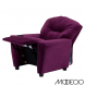 Purple Microfiber Kids Recliner with Cup Holder