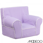 Small Lavender Dot Kids Chair with White Piping