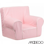 Small Pink Dot Kids Chair With White Piping