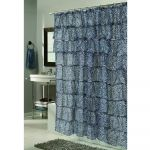 Zebra Print  Ruffled Polyester Shower Curtain