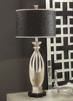 Black Embossed Leather Table Lamp
