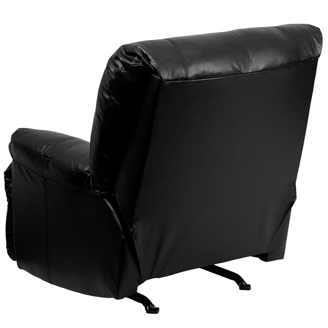 black leather heavily padded rocker recliner