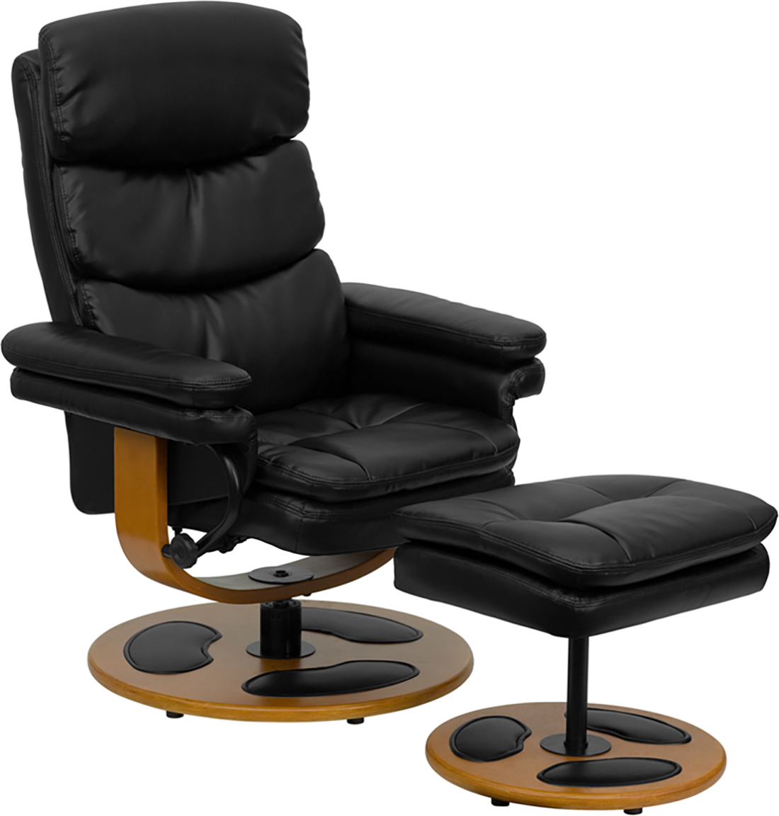 black leather recliner and ottoman with wood base