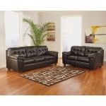 Chocolate Leather Contemporary Upholstered Living Room Set