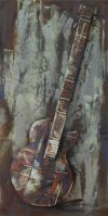 Electric Guitar Hand Painted Iron Wall Sculpture