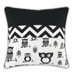 "Owl's 17"" Horizontal Black & White Throw Pillow"