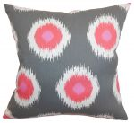 Ikat Gray & Pink 17 inch Throw Pillow