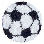 Kids Shaggy Round Soccer Ball Sports Rug