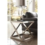 Modern Brushed Nickel End Table