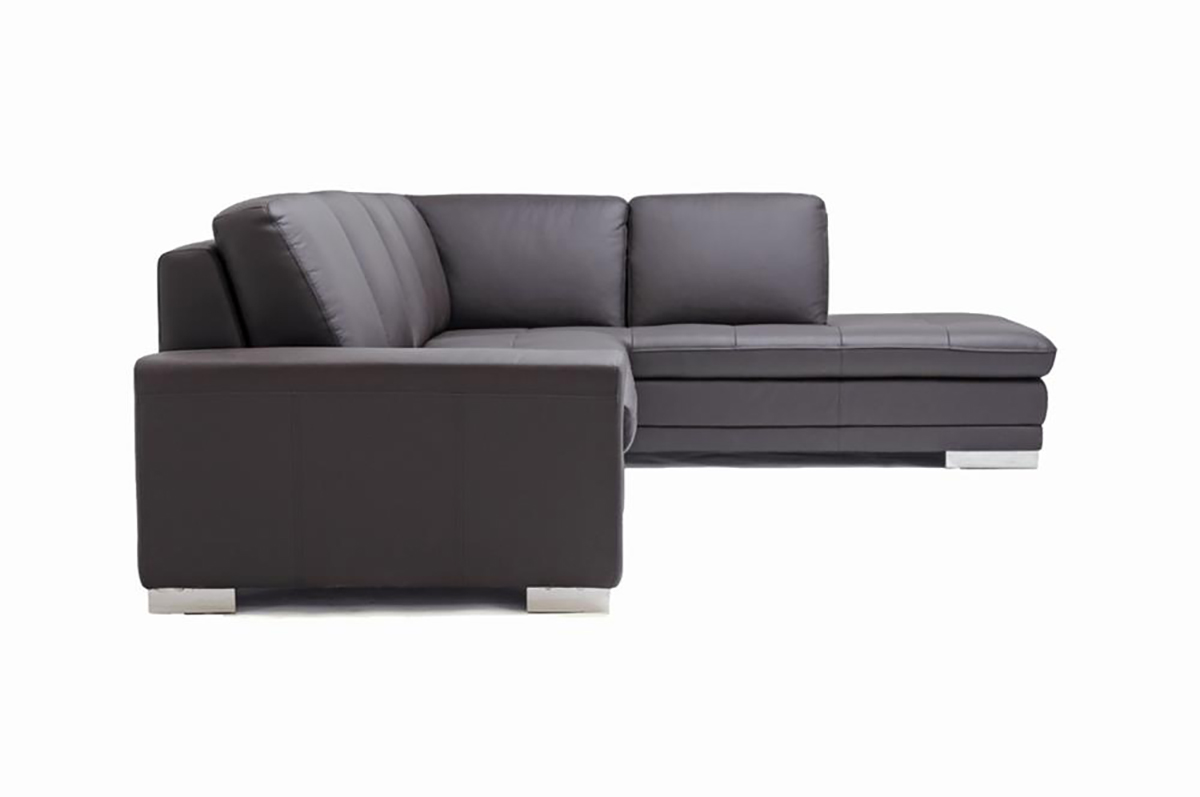 modern dark brown leather sofa sectional wmirrored feet