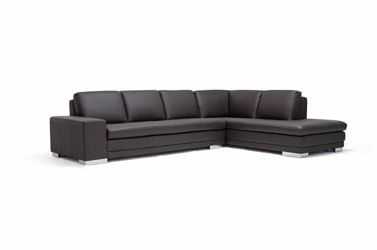 Modern Dark Brown Leather Sofa Sectional W/Mirrored Feet