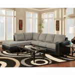 Modern Grey Microfiber Sectional w/ Black Leather