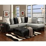 Modern Pillow Back Sectional w/ Black Leather