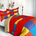 Vibrant Red Quilted Down Alternative Comforter Set