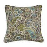 "Paisley Chocolate 17"" Corded Throw Pillow"