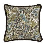"Paisley Chocolate 17"" Fringed Pillow"