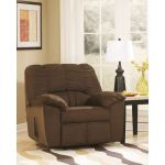 Plush Overstuffed Cafe Fabric Rocker Recliner