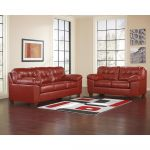 Plush Upholstered Red Leather Living Room Set