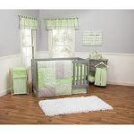 Sage Green Dots and Stripes Baby Bedding 4 Piece Crib Set