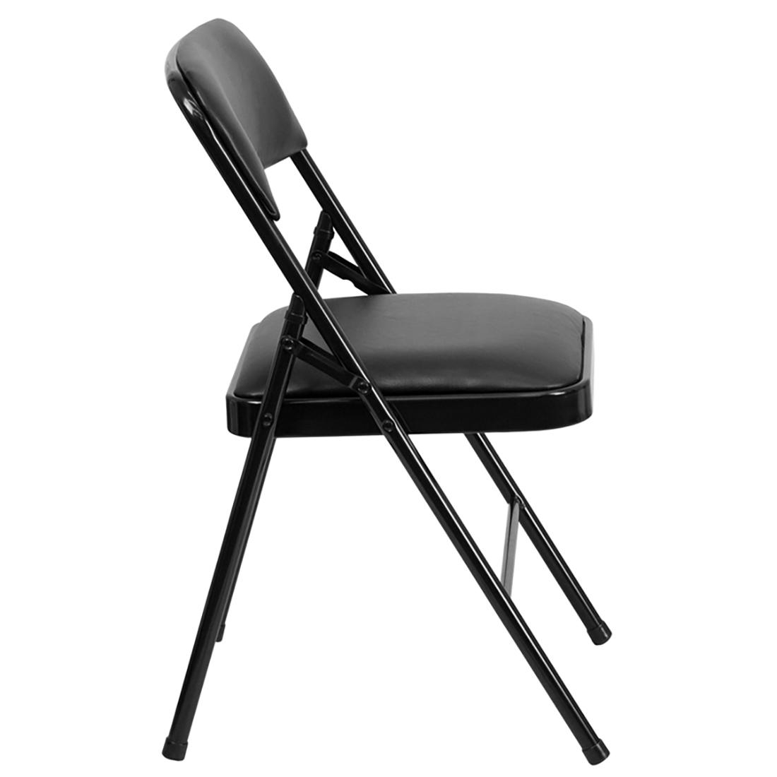 triple braced black vinyl metal folding chair pack