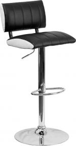 Two Tone Black & White Vinyl Adjustable Height Bar Stool