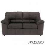 Contemporary Loveseat in Plush Fabric (Fabric Color: Black)