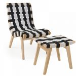 Woven Lounge Chair And Ottoman (Woven Lounge Chair: Black & White)
