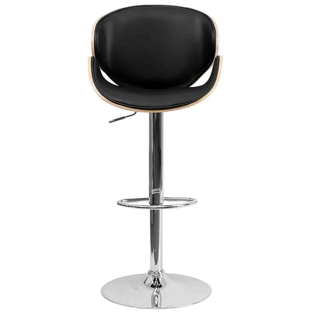 Adjustable Bar Stool With Back Adjustable Industrial  : beech bentwood adjustable height bar stool with curved black vinyl seat and back from sherlockdesigner.com size 1100 x 1100 jpeg 24kB